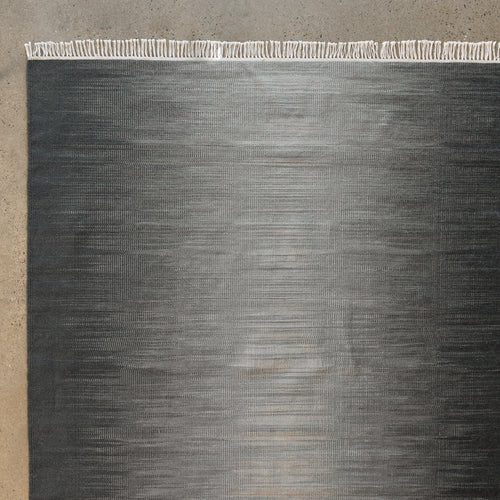 Ombre Hand Woven Reversible Wool Flatweave Rug 9'x6'/ Charcoal Grey