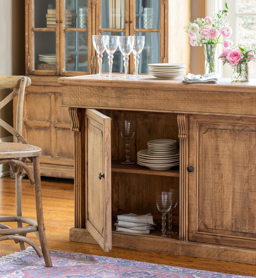 Pine Serving Counter With Storage