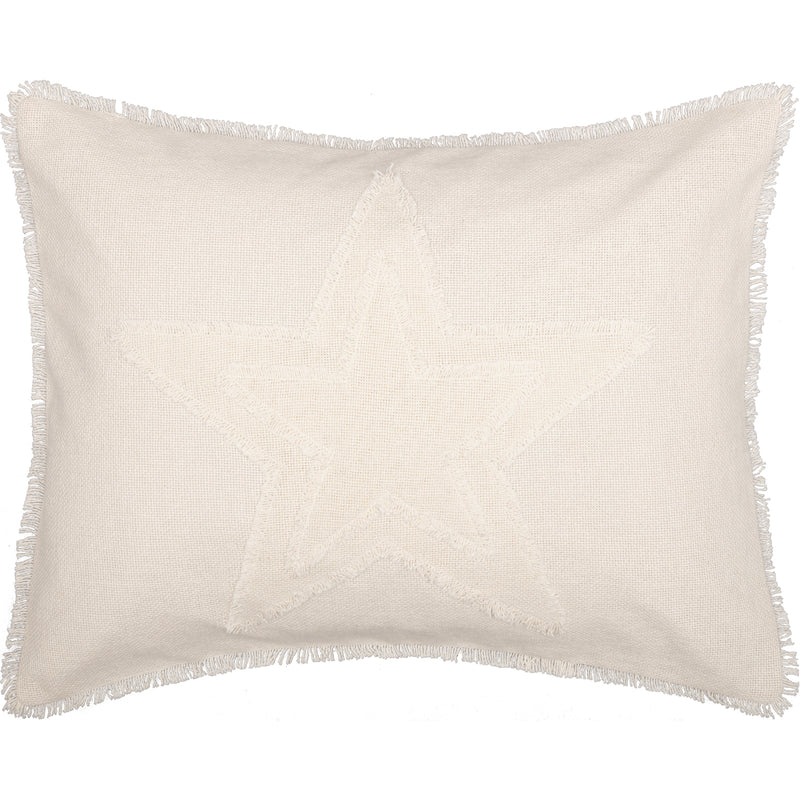 Burlap Antique White Star Sham