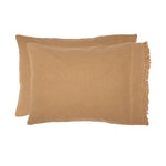 Burlap Natural Pillow Case w/ Fringed Ruffle Set of 2