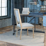 Washed Oak Finish Linen Dining Chair