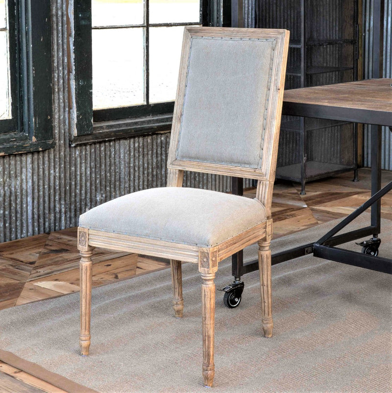Washed Oak Finish With Linen Dining Chair