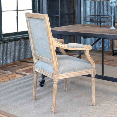 Washed Oak Finish With Linen Dining Arm Chair