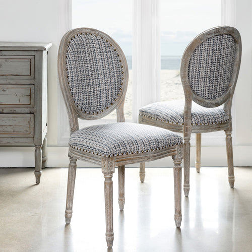 Weathered White Washed Wood With Upholstered Tweed Fabric