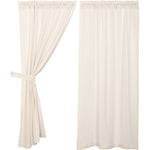 Burlap Antique White Short Panel Set of 2 63x36