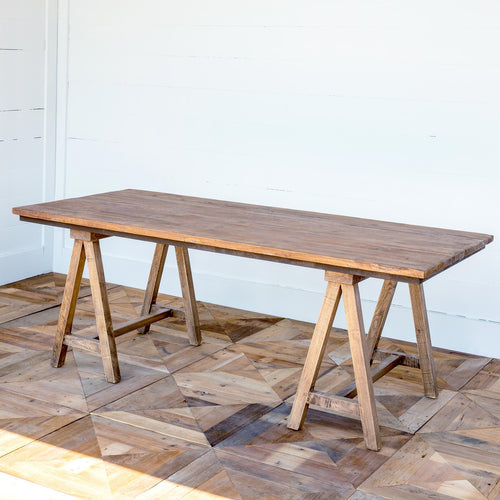 Rustic Wood Sawhorse Table