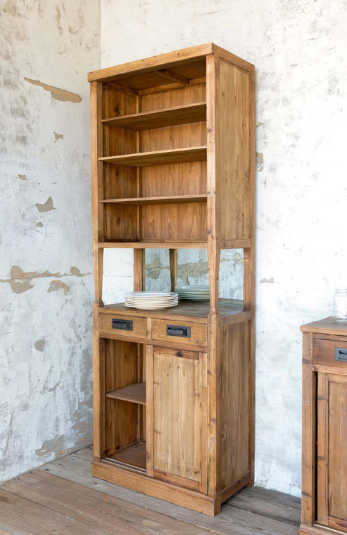 Tall Back Wood Cabinet