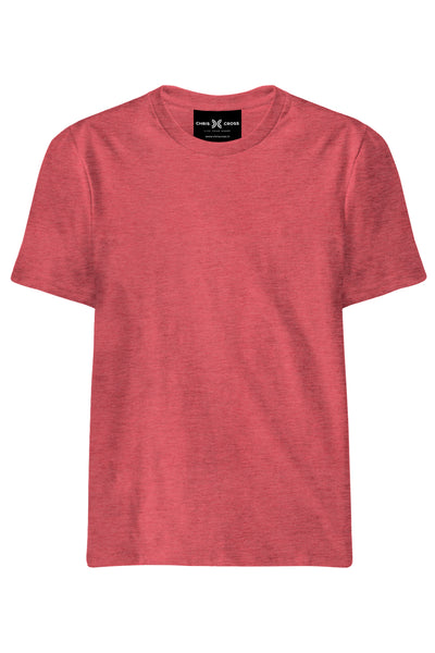 Plain Red Melange T-Shirt - ChrisCross.in