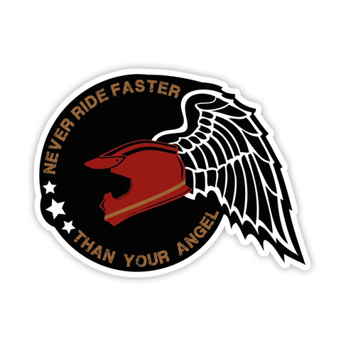 Never Rider Faster Than Your Angel Sticker (Reflective) - ChrisCross.in