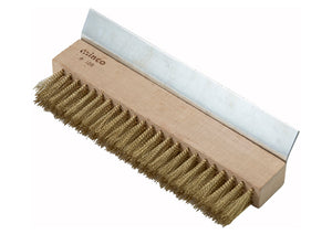 Pizza Oven Brush Head, Brass Bristles with Scraper