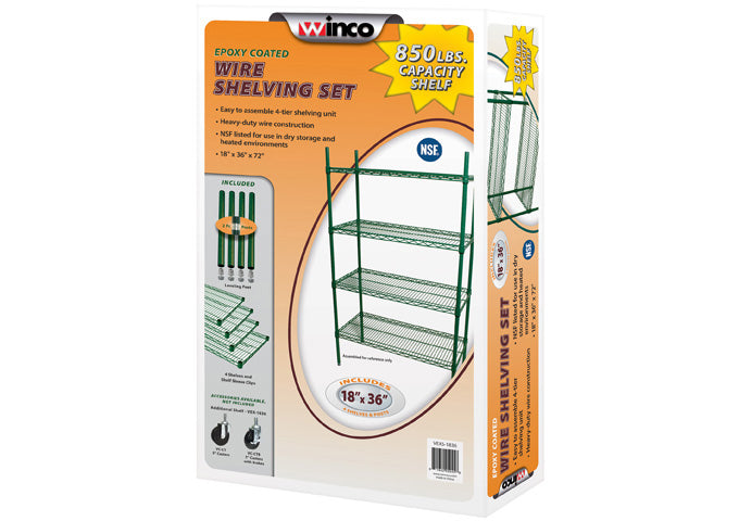 4-Tier Wire Shelving Set, Epoxy-Coated