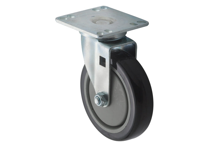 Universal Plate Caster Set, 3-1/2″ Square Plate, 5″ Wheels