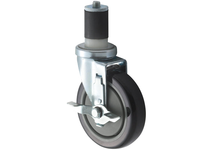 Workable Stem Caster Set with Brake, 5″ Wheels