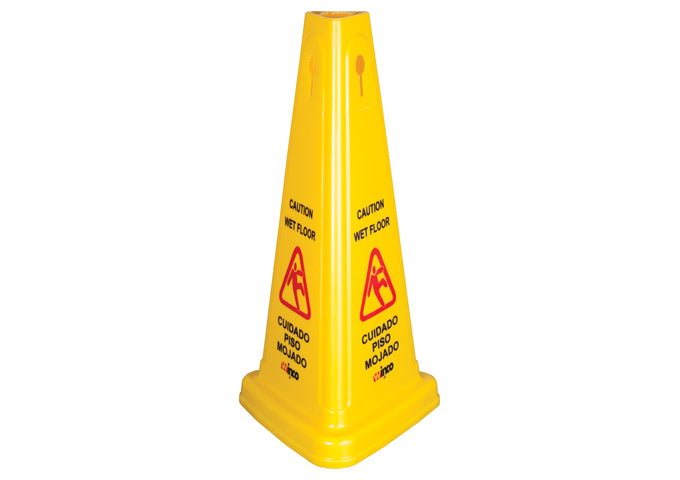 Wet Floor Caution Sign, Cone-Shaped, Yellow