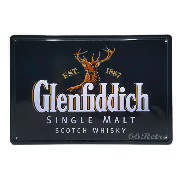Glenfiddich Retro Embossed Metal Tin Sign