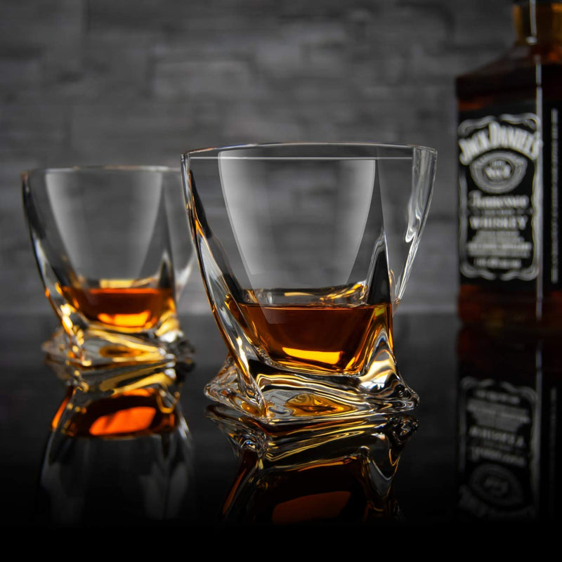 JL Storm Twist Whiskey Glasses - Lead Free Crystal Tumbler (Set of 2)
