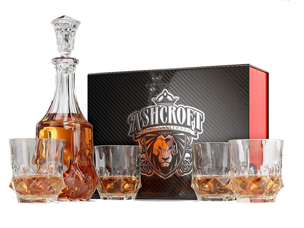 Ashcroft Imperial Whiskey Decanter Set - Lead Free Crystal Glasses (5 Pieces)