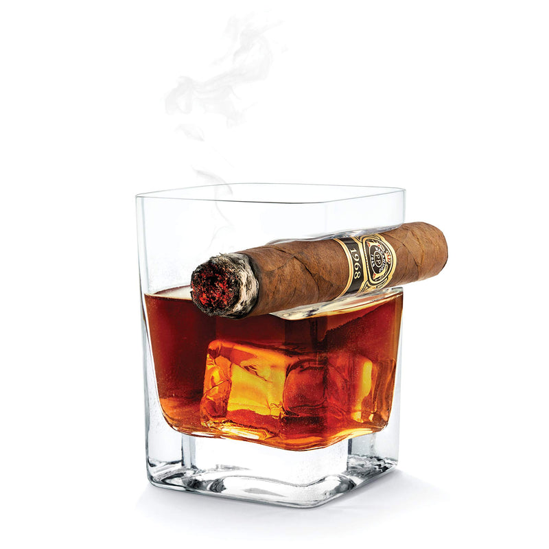 Corkcicle Cigar Glass - Double Old Fashioned Glass With Built-In Cigar Rest