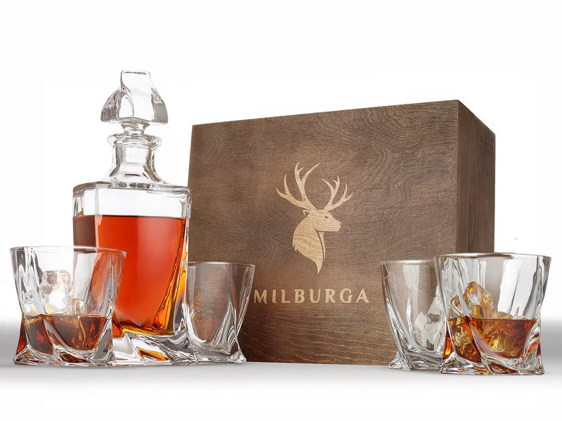 Premium 5-Piece Whiskey Decanter Set and 4 Glasses in Exquisite Hand Crafted Wooden Box