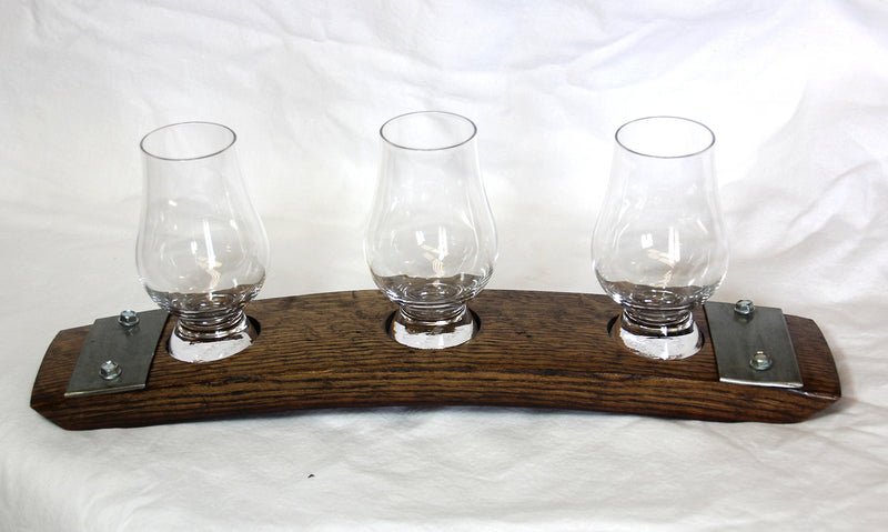Premium Barrel Stave Whisky Flight w/ Crystal Glencairn Glasses (Dark Walnut)