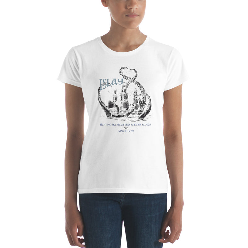 Islay Sea Monsters | Black Ship | Womens T-Shirt