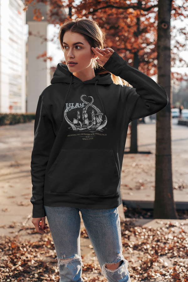 Islay Sea Monsters | White Ship | Womens Hoodie