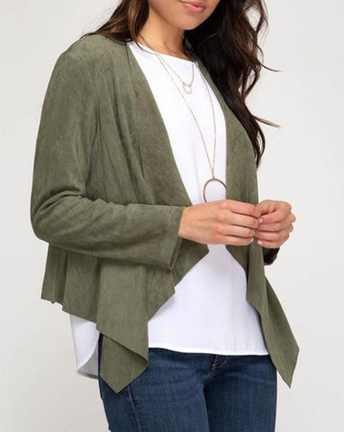 OLIVE MICRO SUEDE JACKET