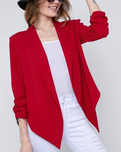 RED RUCHED SLEEVE JACKET