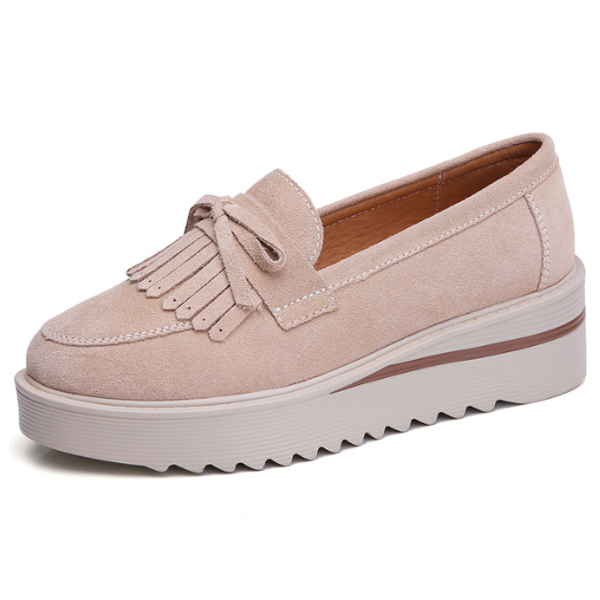 Comfy Slip-On Suede Tassel Platform Shoes