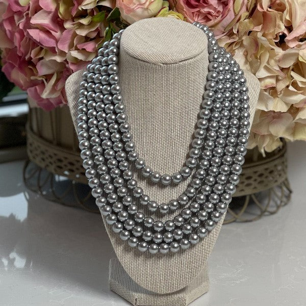 Crown Linen Designs - Five Strand Grey Pearl Necklace