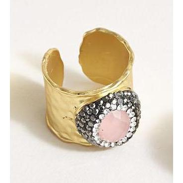 2 Chic - 18K Gold Plated Ring with Pave Faceted Center Stone