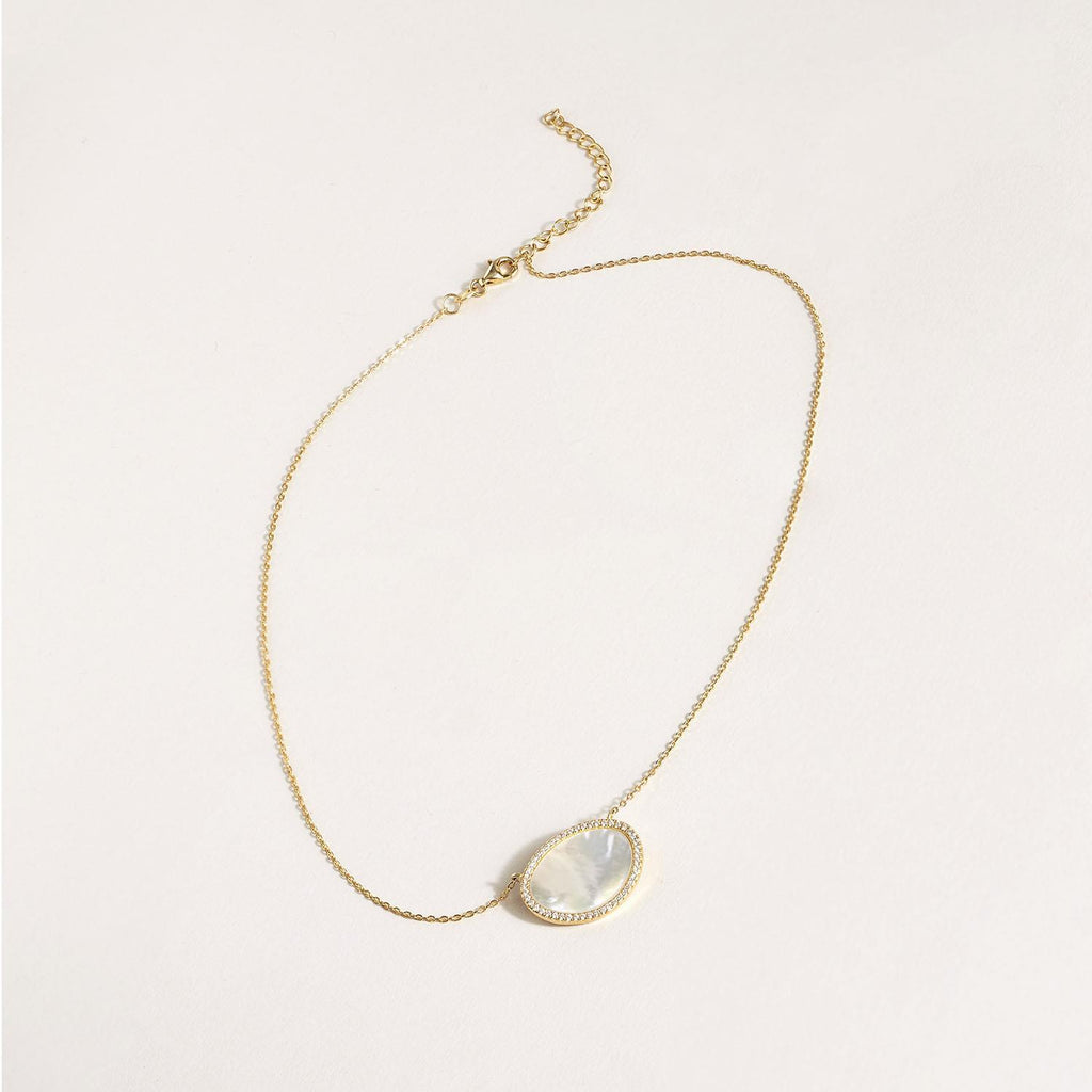 2 Chic - Pave Mother of Pearl 18K Gold Plated Necklace