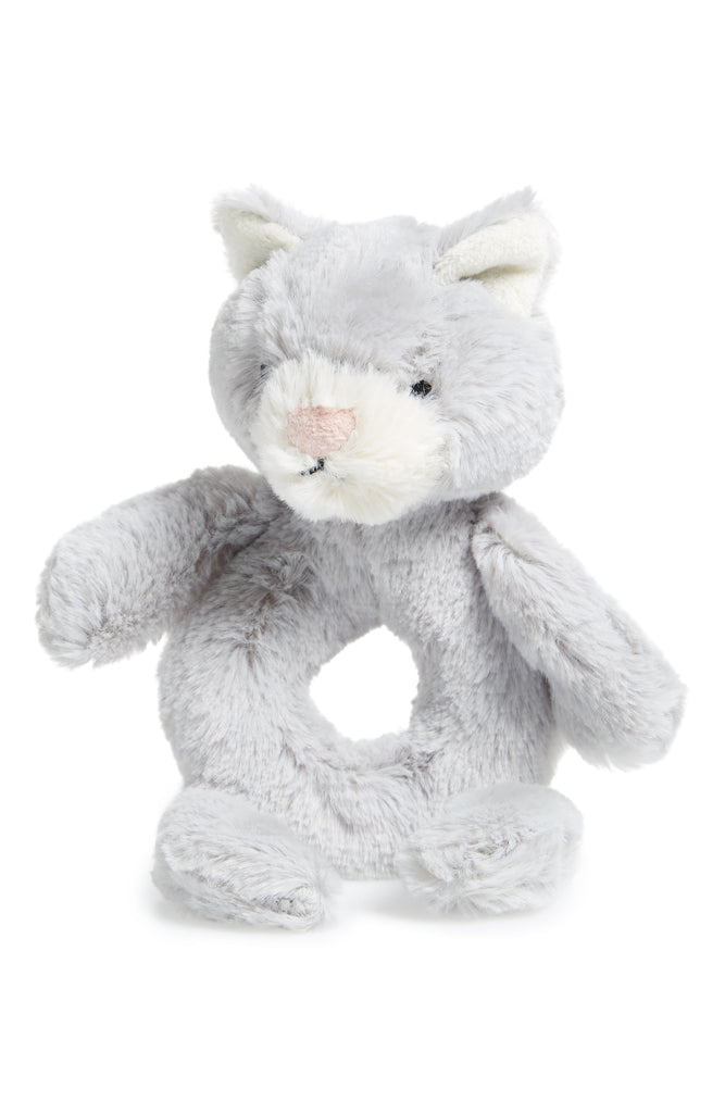 "JellyCat Bashful Soft Silver Kitty Grabber Rattle, 7""H"