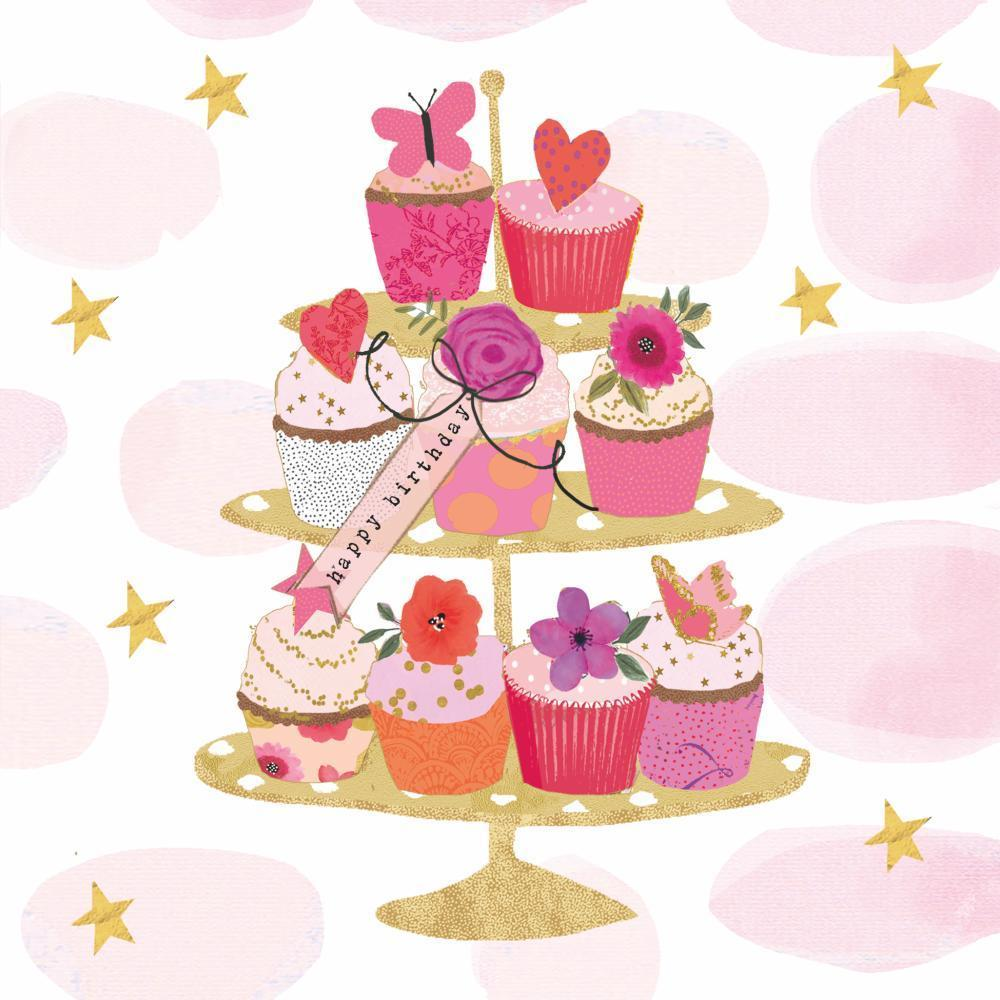 PPD - Happy Cupcakes Happy Birthday Beverage/Cocktail Paper Napkins
