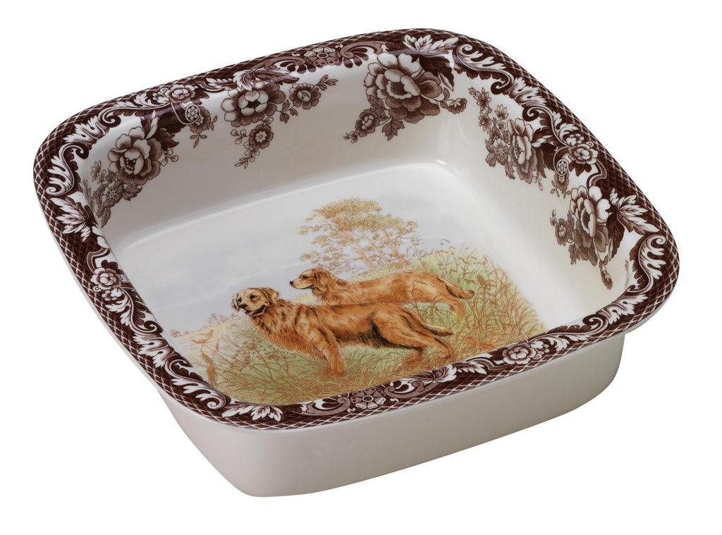 Spode -Woodland Square Rim Dish - Golden Retriever