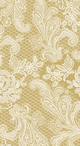 PPD - Lace Royal Gold White Paper Guest Towel