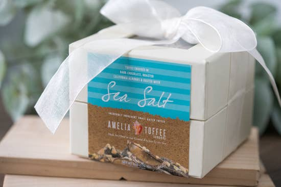 Amelia Toffee - Sea Salt Toffee - 6 oz. Ivory Box