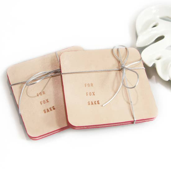 Three Tiny Words Embossed Drink Coaster - Set (2)