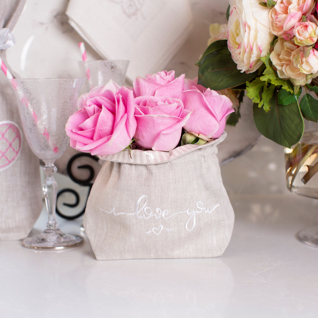 Crown Linen Designs - I Love You Linen Flower Bag