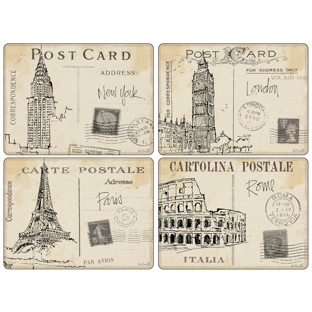 Pimpernel - Postcard Sketches Placemats - Set of 4