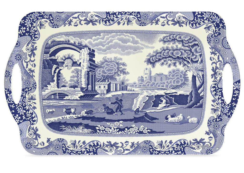 Pimpernel - Blue Italian Large Melamine Handled Tray