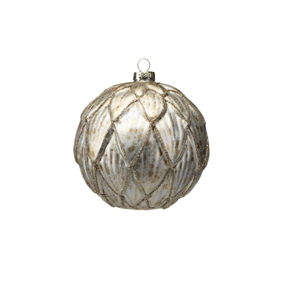 Zodax - Antique Gold Ball Ornament with Embossed Leaf - Medium