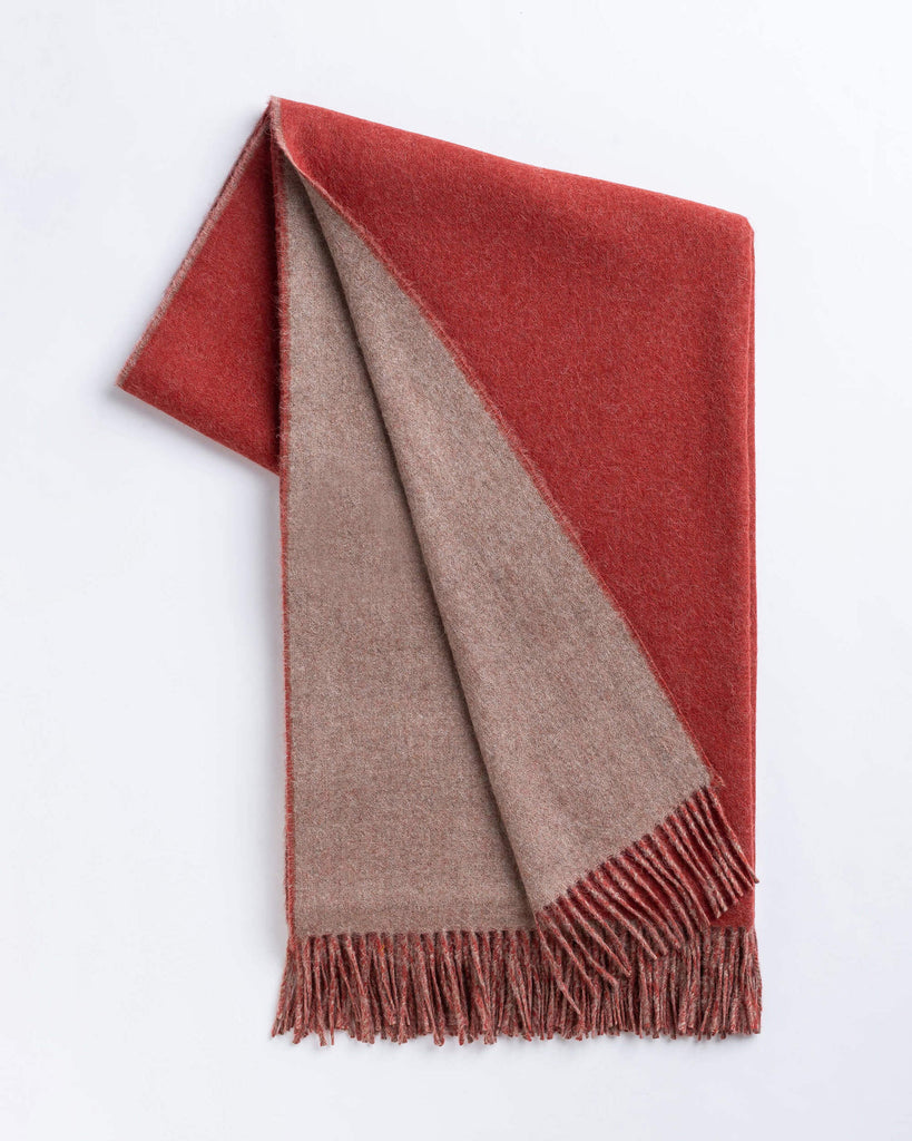 Alicia Adams Alpaca - Men's Reversible Scarf, Rust/Taupe