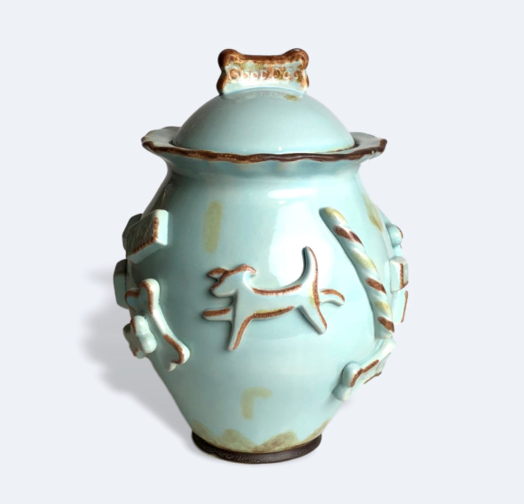 Carmel Ceramica Dog Treat Jar, baby blue
