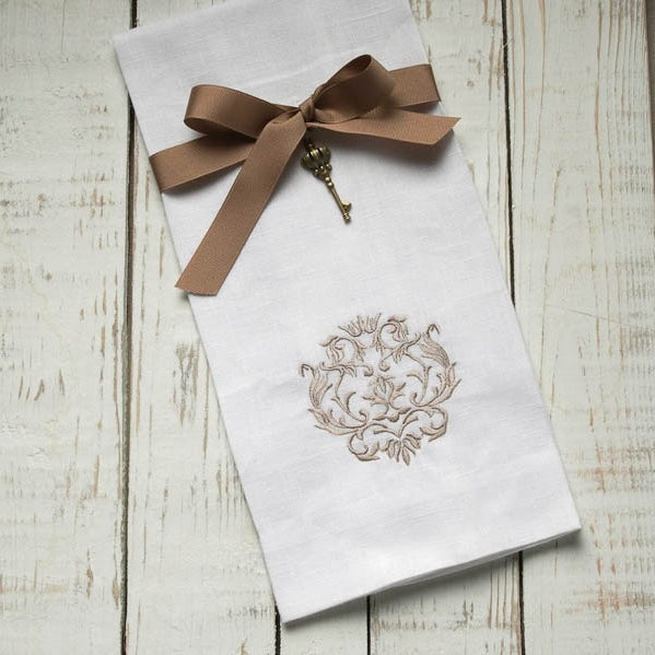 Crown Linen Designs - Damask Linen Towel, White/Taupe
