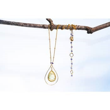 Chuang Yi Gallery -  Lemon Quartz Gold Hoop Necklace
