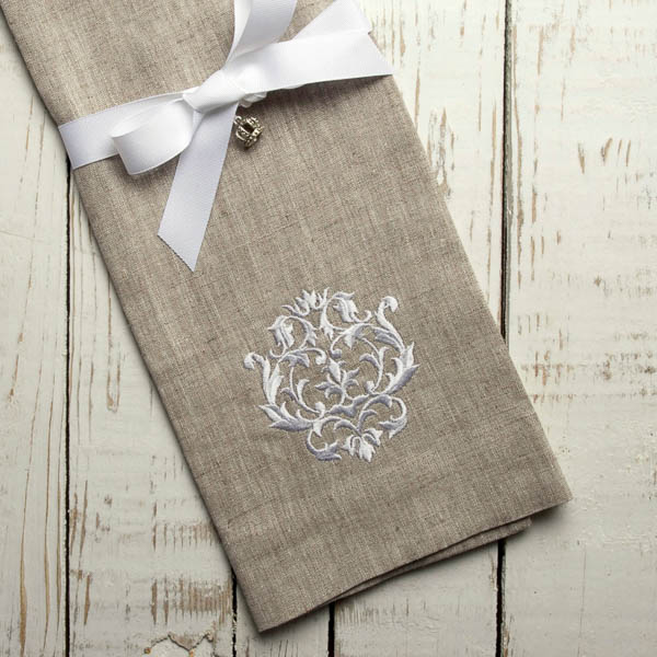 Crown Linen Designs - Damask Linen Towel, Flax/White