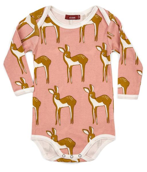 MILKBARN BABY ORGANIC COTTON LONG SLEEVE ONE PIECE Doe Pink