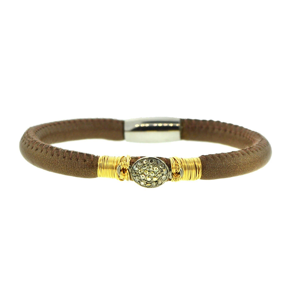Mabel Chong -  Brown Leather Bracelet with Pave Diamond Charm - Gold Filled Wire