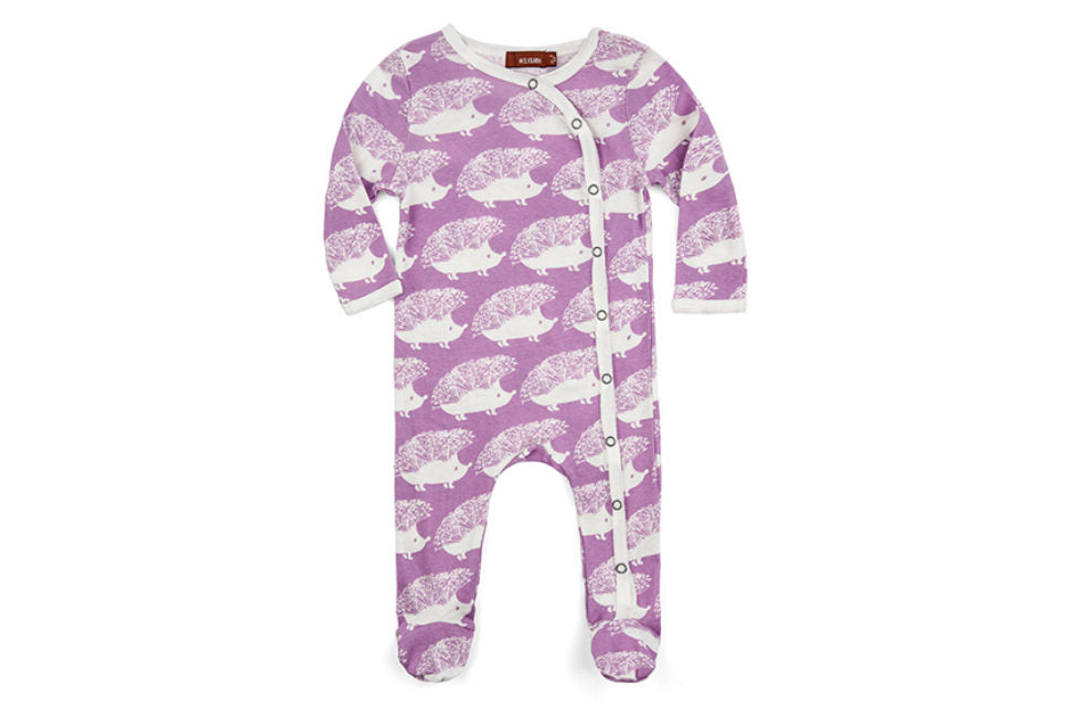 Milkbarn Footed Romper Lavender Hedgehog